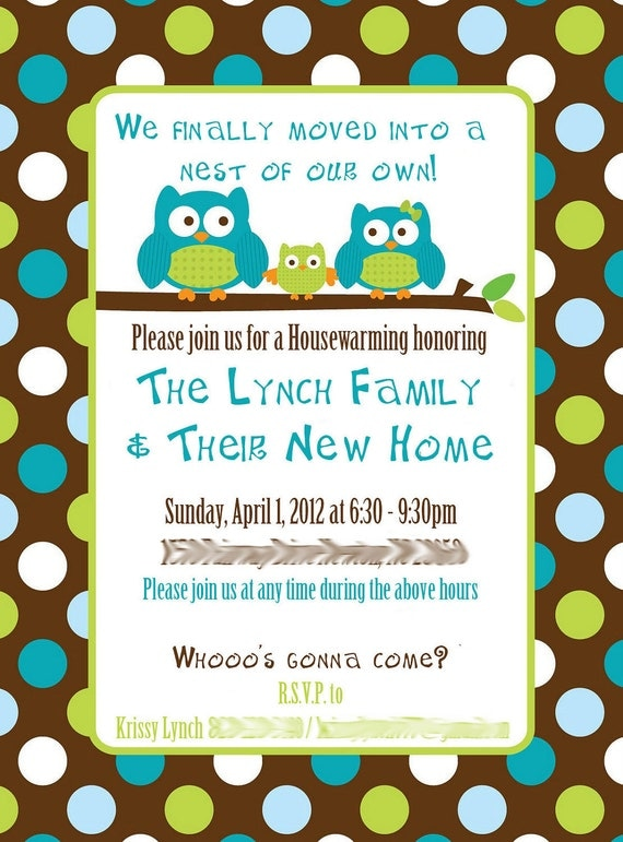 custom owl housewarming invitations. Black Bedroom Furniture Sets. Home Design Ideas