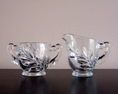 SALE - Vintage Oleander Glass Sugar And Creamer Set