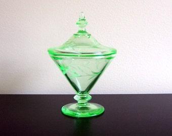 SALE - Green Depression Glass Floral Etched Candy Dish