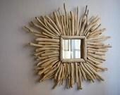 Decorative mirror, driftwood mirror, sunburst style