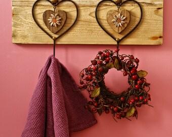 Kitchen towel hanger, Driftwood towel hanger, Barnwood Hanger,Rustic Heart