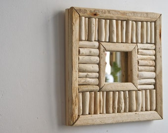 Driftwood Mirror, Rustic Mirror, Handmade Mirror, Upcycled Mirror, Cottage Style Mirror, Accent Mirror