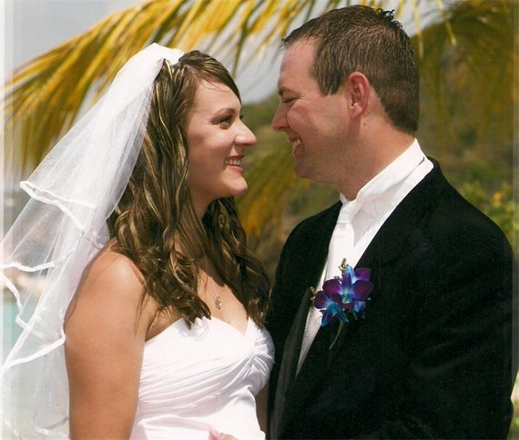 White wedding veil. Handkerchief style with white trim made to order Ivory, Champagne, White...Add a blusher