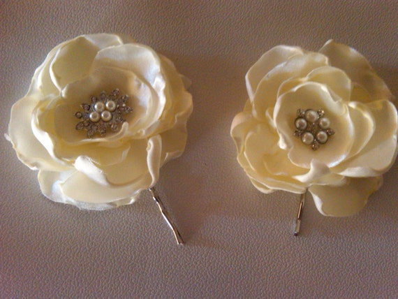 Bridal flower hair clip  2 ivory bridal flowers with pearl and rhinestone embellishment...Wedding hair accessories