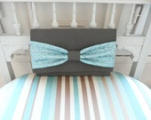 Clutch handmade in PARIS limited edition grey bow metallic blue