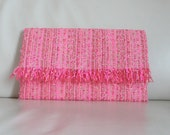Clutch handmade in PARIS limited edition pink beige red neon pink