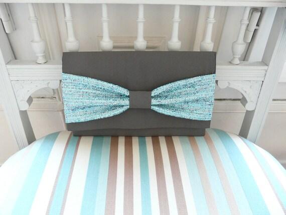 Clutch handmade in PARIS limited edition grey bow metallic blue