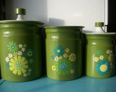 OMG its HOT SALE 1960s Kromex Aluminum Canister Set with Mod Flowers