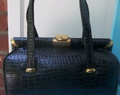 OMG its HOT SALE Vintage 1960s Black Faux Crocodile Handbag by Kadin Mad Men Style
