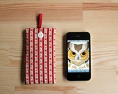vintage red rose and stripe print iPhone case for 4G 4GS 3GS - pouch, pocket, cover, protective sleeve, red & white woodland.