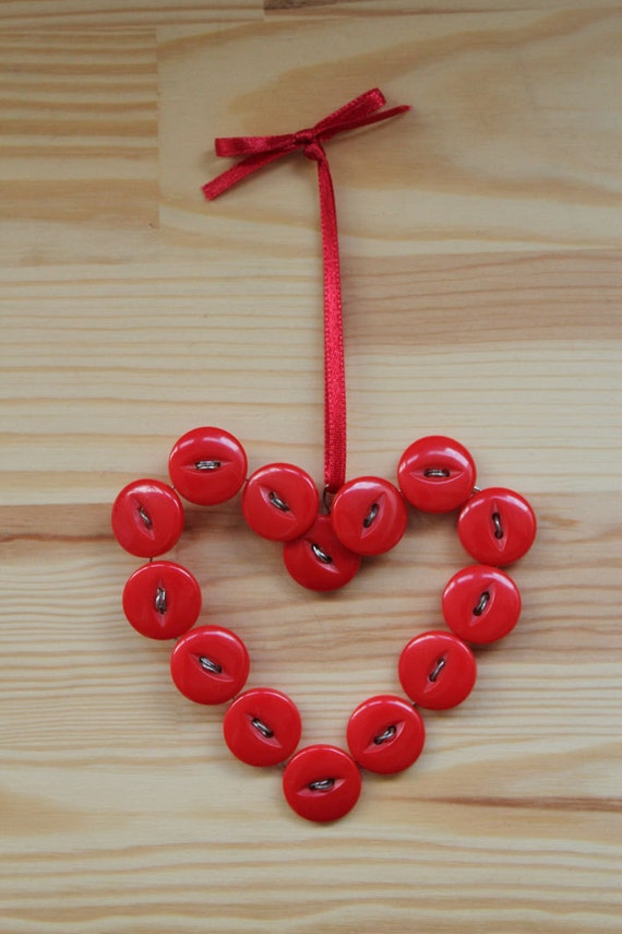 Cherry Red Button Heart wire hanger tree decoration bauble EtsyXO
