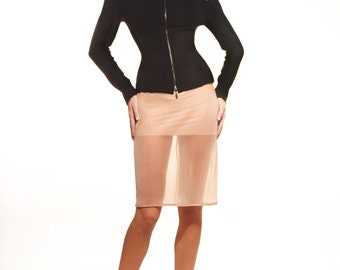 Heavy wool jersey fitted jacket & nude jersey skirt