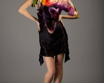 Multicolor printed silk satin-chiffon dress