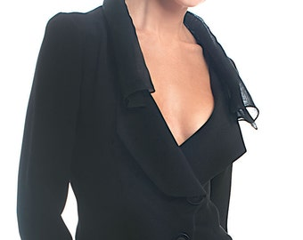 6 ply silk crepe jacket with roll-up sheer silk organza collar