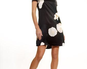 Silk satin flower print A-line dress