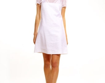 Stretch linen and sheer organza A-line dress