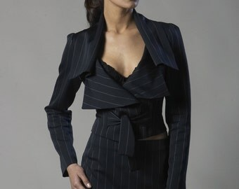 Dark navy stripe wool-viscose blend suit
