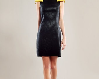 Cotton blend stretch glossy dress with yellow bows on shoulders