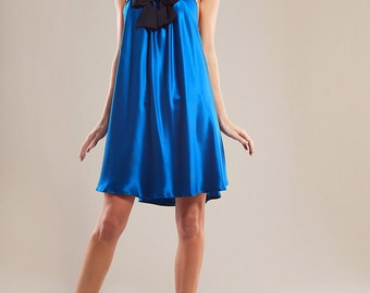 Silk satin strap dress with bow
