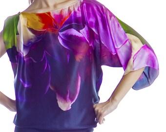Silk satin-chiffon printed asymmetrical style blouse