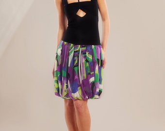 Stretch-jersey and printed silk-chiffon summer dress