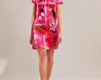 Silk-satin geometric print A-line dress