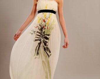 Silk wrinkled chiffon corset maxi printed dress