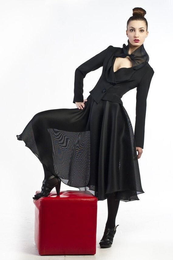 Silk tulle taffeta full-circle skirt.