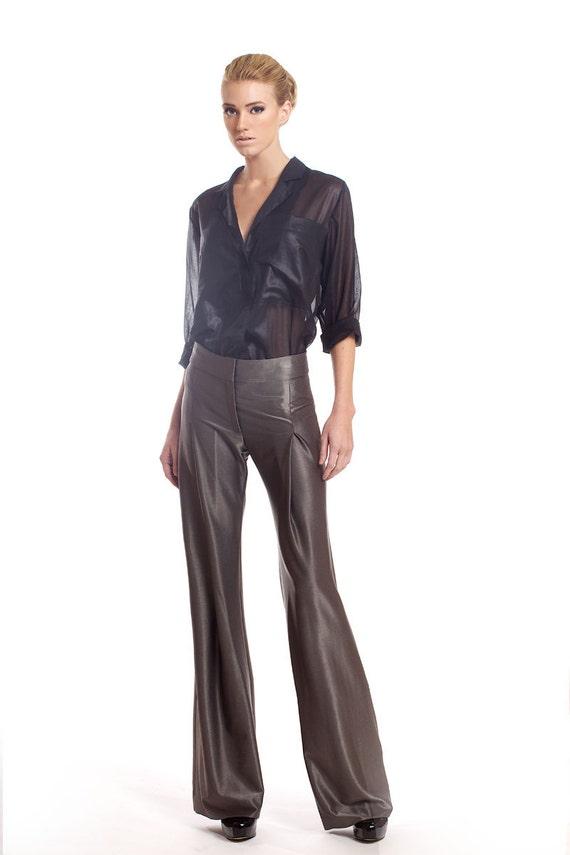Heavy viscose blend stretch pants