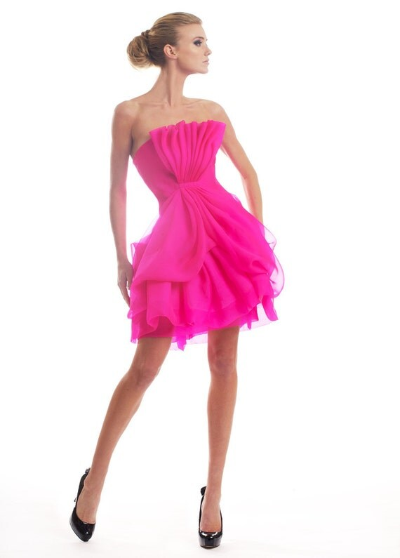 Fuchsia silk organza corset dress