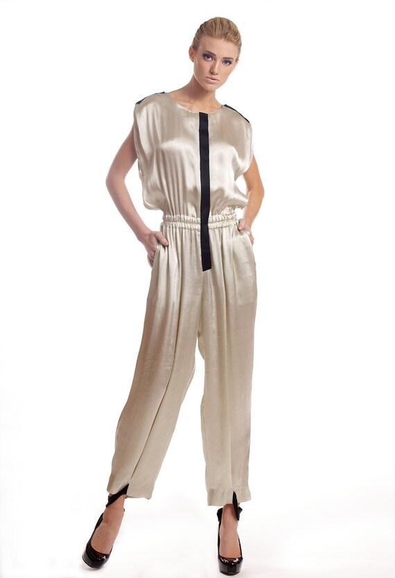 Silk-viscose blend jumpsuit with black embellishments