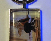 Psalm 91:4 - He Will Cover You - Silver Metal and Glass Keychain - Rectangle