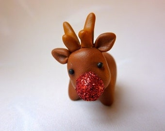 Reindeer - Festive Red Glitter Nose Rudolph Christmas Decoration Cake Topper Handmade polymer clay