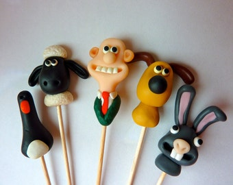 Wallace and Gromit Character Cake Toppers - Handmade