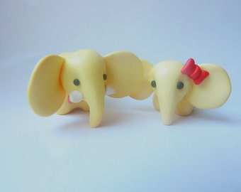 Yellow Elephants - wedding cake topper totem couple gift Handmade FIMO polymer clay miniature figures his and hers