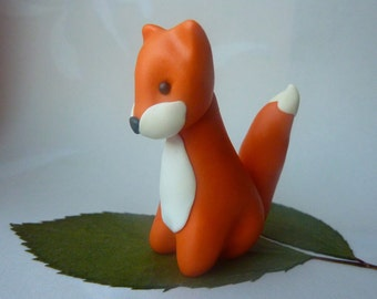 Fox - Handmade FIMO polymer clay miniature figure/cake topper for kids animal birthday