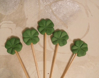 Four Leaf Lucky Clover Cupcake Topper- cupcake cocktail picks good luck new job leaving gift st patricks irish exams test party favours