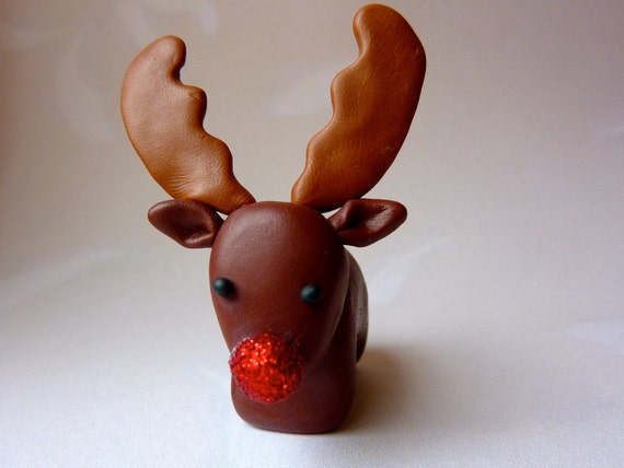 Reindeer - Rudolph Christmas Festive Decoration Cake topper Sparkly Glitter Red Nose Handmade polymer clay