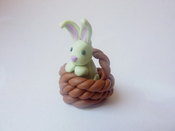 Bunny in a Basket - Handmade FIMO