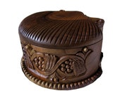 ONLY NOW 15% OFF & Free Shipping, Wood carving, to be ordered, Hand carved jewelry box,  housewares, wheat and vine motifs
