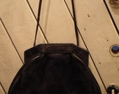Vintage Black Leather and Suede Purse
