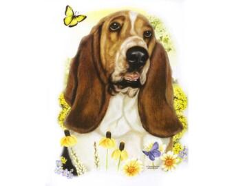 BASSET HOUND Short Sleeve T-Shirt Art Dog