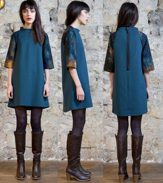 ON SALE  Trapeze dress green