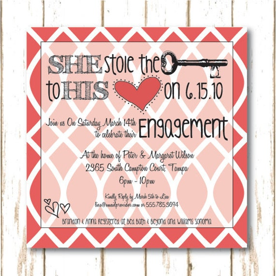 Engagement Invitation ... She Stole the Key to His Heart ... also great for a Bridal Shower