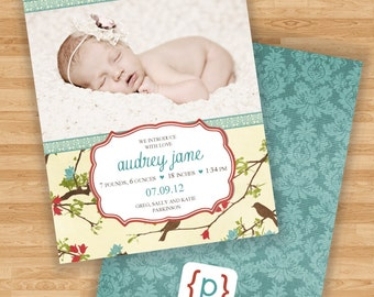Baby Girl Birth Announcement - Birds and Branches - Blue/Red/Brown