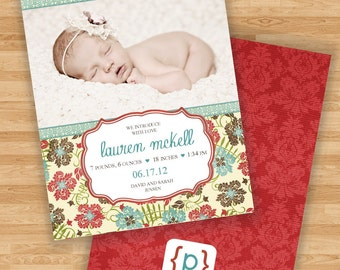 Baby Girl Birth Announcement - Flowers - Red/Blue/Brown/Cream