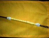 Forsythia Fairy Goddess Wand -Staff-Made from Forsythia Branch-Yellow Silk Handle w Lace Detail-Halloween, Autumn, Yule, Christmas gift