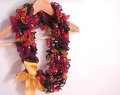 Crochet ruffles scarf with yellow satin ribbon. All seasons necklace shaped fashion accessory for her.