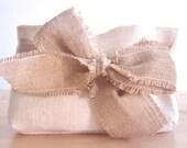 Ivory burlap clutch with bow / burlap ribbon. Elegant rustic wedding bridal party gift bridesmaid gifts idea