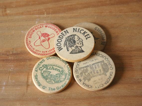 Wooden Nickels - Set of 5 various